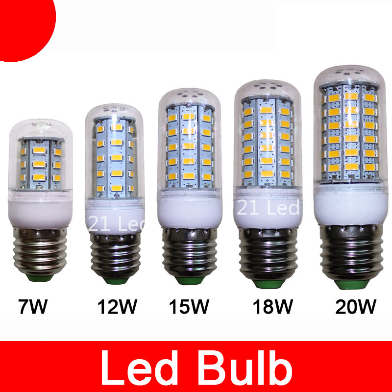 Hot Sale E27 E14 Led Lamps 5730 110V 220V  12W 15W 18W 20W LED Corn Led Bulb Christmas Chandelier Candle Lighting Free Shipping