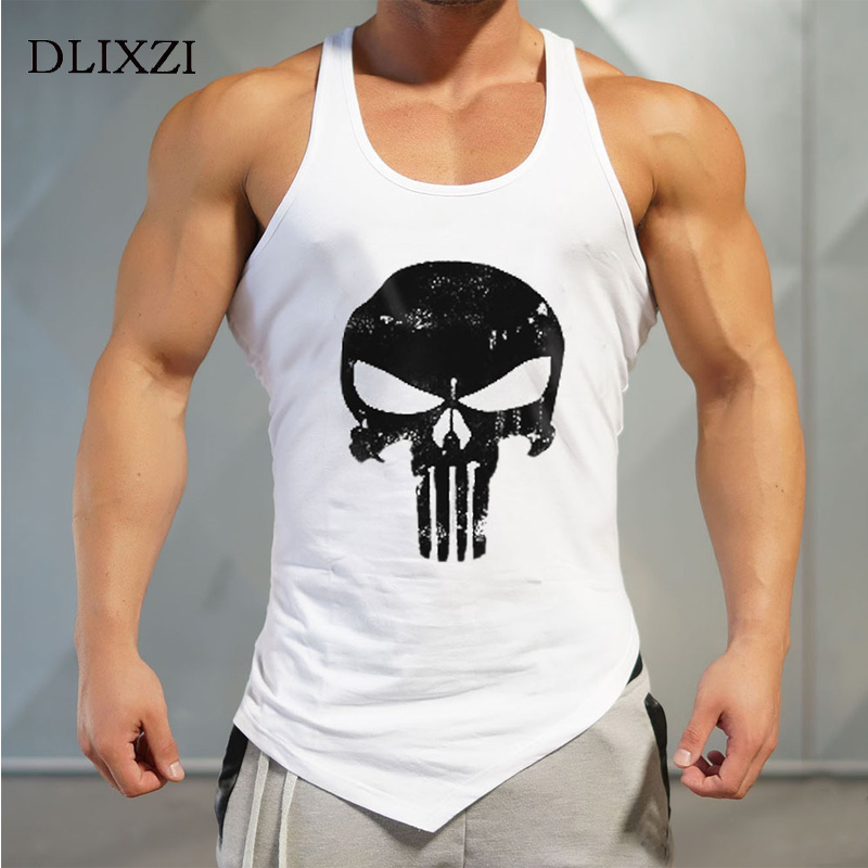 Asymmetry Cotton Fitness   Tank     Top   Men Sleeveless Bodybuilding Singlet Printed Punisher Muscle Shirt Street Workout Clothing Gyms