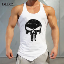 7a60cd99515746 Asymmetry Cotton Fitness Tank Top Men Sleeveless Bodybuilding Singlet  Printed Punisher Muscle Shirt Street Workout Clothing