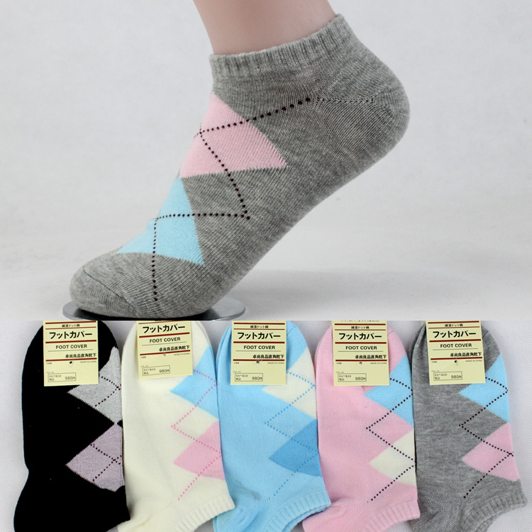 1 Pair Hot Sale Girls' Classic Double Rhombus Grain Summer Socks Women Ankle Low Cut Breathable Fitted Pure Cotton Sock
