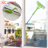 Double Side Window Glass Cleaning Tools Telescopic Pole Window Cleaning Cloth Glass Scraper Wiping Bentable Wiper
