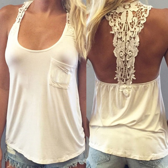 a49b04a5a9966 Women Summer Vest Top Sleeveless Blouse Casual Tank Tops T-Shirt Lace Sexy  Halter Tops Crops for Summer 2016 pLUS sIZE  723