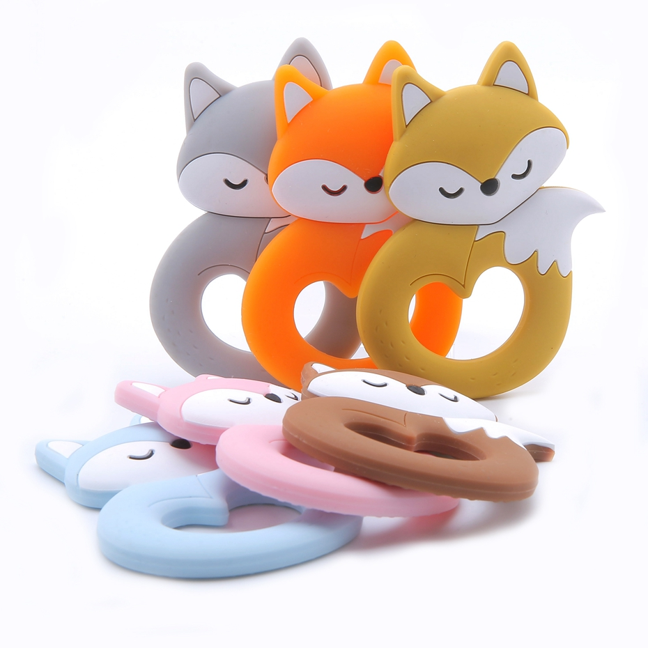 Let's Make 10pc Big Tail Fox Cartoon Jewelry Bead Pendant DIY Handmade Silicone Necklace Teething Toy BPA Free Chewing Beads