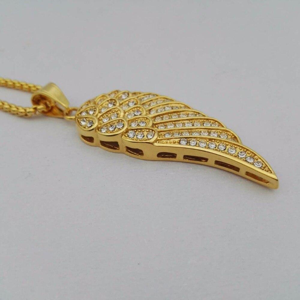 Golden Rhinestone Angel Wing Necklaces