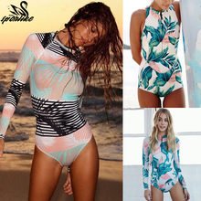 2019 Print Floral One Piece Swimsuit Long Sleeve Swimwear Women Bathing Suit Retro Swimsuit Vintage One-piece Surfing Swim Suits(China)