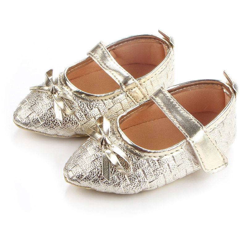 New Baby Shoes Soft Soled Non-slip Footwear Pointed Bow Tie Shoes Baby Girls Bow Leather Frist Walkers Shoes