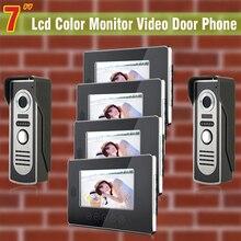 4 Monitor 2 Cámara con cable 7 teléfono video de la puerta sistema de intercomunicación de vídeo portero automático monitor de control de acceso de intercomunicación timbre video