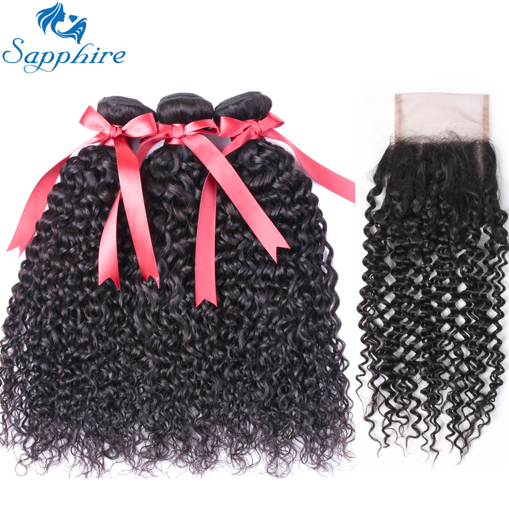 Sapphire Malaysian Curly Hair Bundles With Closure 4 4 Lace Closure Free Part Human Hair Weave