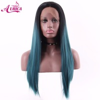 Aurica Ombre Dark Green Teal Heat Safe Synthetic Hair Lace Front Wig With Black Roots For Women