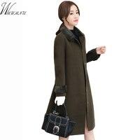 Wmwmnu 2017 New Fashion Fur Collar Manteau Cape Whit Elegant Camel Coats Manteau Femme High Quality