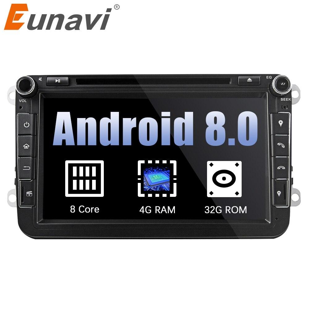 Eunavi 2din Android 8.0 Octa Core 4 gb di RAM DVD Dell'automobile per il VW Passat CC Polo GOLF 5 6 Touran EOS T5 Sharan Jetta Tiguan GPS Radio bt