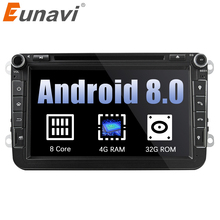 Eunavi 2din Android 8.0 Octa Core 4GB RAM Car DVD for VW Passat CC Polo GOLF 5 6 Touran EOS T5 Sharan Jetta Tiguan GPS Radio bt