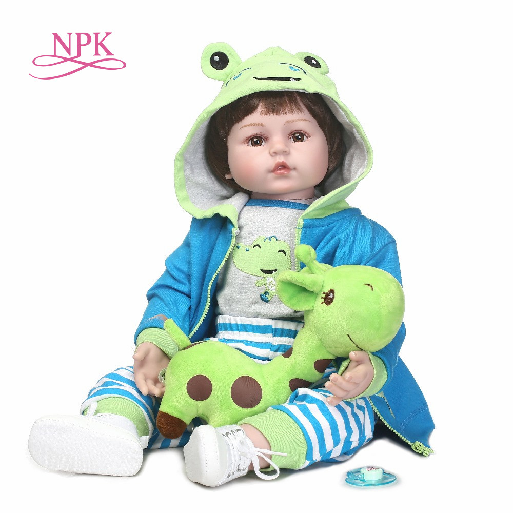 цена на NPK 60cm Silicone Reborn Baby Doll kids Playmate Gift For Girl 24 Inch Baby Alive Soft Toy For Bebe Reborn Brinquedo dolls house