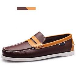 Merkmak primavera sólida calçado de barco masculino moda mocassins de couro genuíno deslizamento e laço acima sapatos casuais homem confortável preguiçoso sapatos