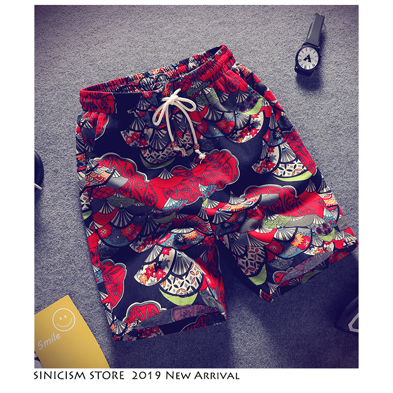Sinicism Store Men Print Streetwear Casual Shorts 2019 Mens Vintage Chinese Style Shorts Summer Oversize Male Knee Length Shorts