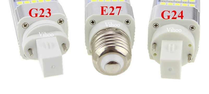Lampada 5 w 7 w 9 w 11 w 13 w 14 w G23 E27 G24 LED תירס מנורת הנורה 5050SMD זרקור 180 תואר 85-265 v תקע אופקי אור תאורה