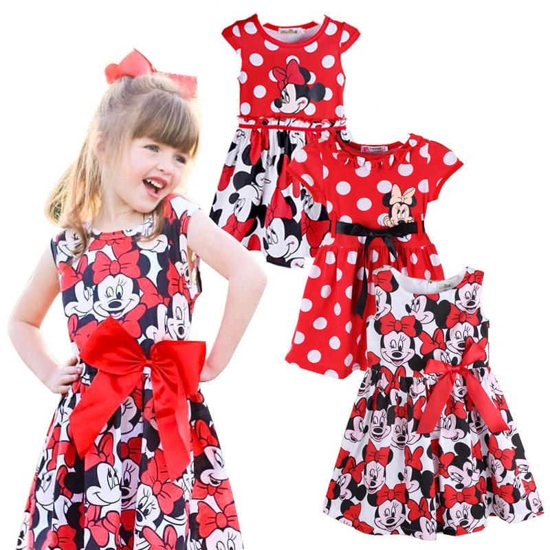 Baby Girl Summer Dress Girls Minnie Mouse Red Dress Girl's Casual Party Dress girls clothing 4 style clothes