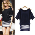 2016 Summer New Fashion Dresses Women's Casual Short Sleeve Striped Stitching Off shoulder Dress
