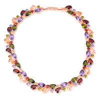 High Quality Luxury 18K Rose Gold Plated Necklaces Multicolor AAA Cubic Zircon For Women Mona