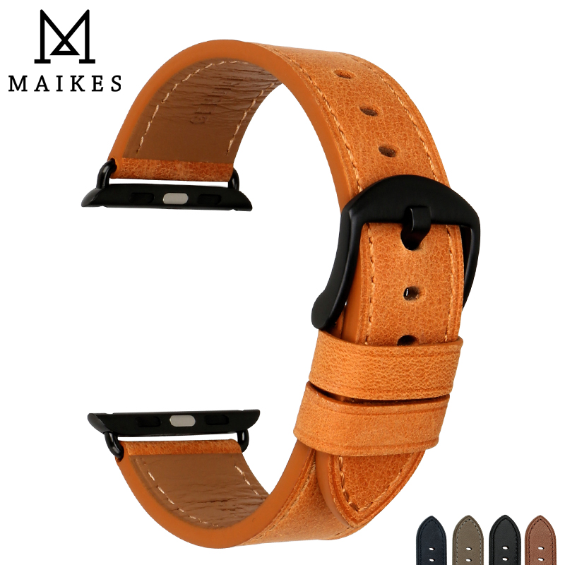 MAIKES Quality Leather Watchband Orange With Adapters Replacement For Apple Watch Band 42mm 38mm Series 3 2 1 Apple Watch Strap genuine leather watch strap with lugs adapters for apple watch 42mm series 1 series 2 us flag