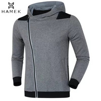 Mens Slanted Zip Hooded Running Jacket Reflective Stripe Patchwork Basketball Soccer Sportswear Training Clothes Fitness Gym