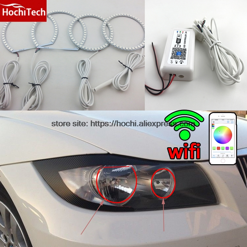 HochiTech RGB Multi-Color halo rings kit car styling for BMW 3 Series E90 05-08 Halogen headlight angel eyes wifi remote control for bmw z4 e85 2002 2008 led perimeter headlight rings halo multi color rgb angel demon eyes car styling
