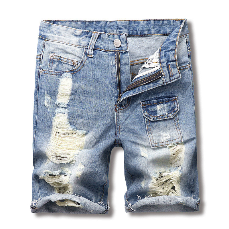 MORUANCLE Fashion Mens Destroyed Denim Jeans Hi Streetwear Ripped Distressed Short Jeans With Holes Washed Blue Multi Pockets