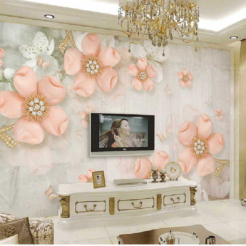 Custom Photo 3D Wallpaper Vintage Diamond Pink Flowers TV Backdrop Bedroom Photo Wall Paper 3D Home Decor Living Room Wall