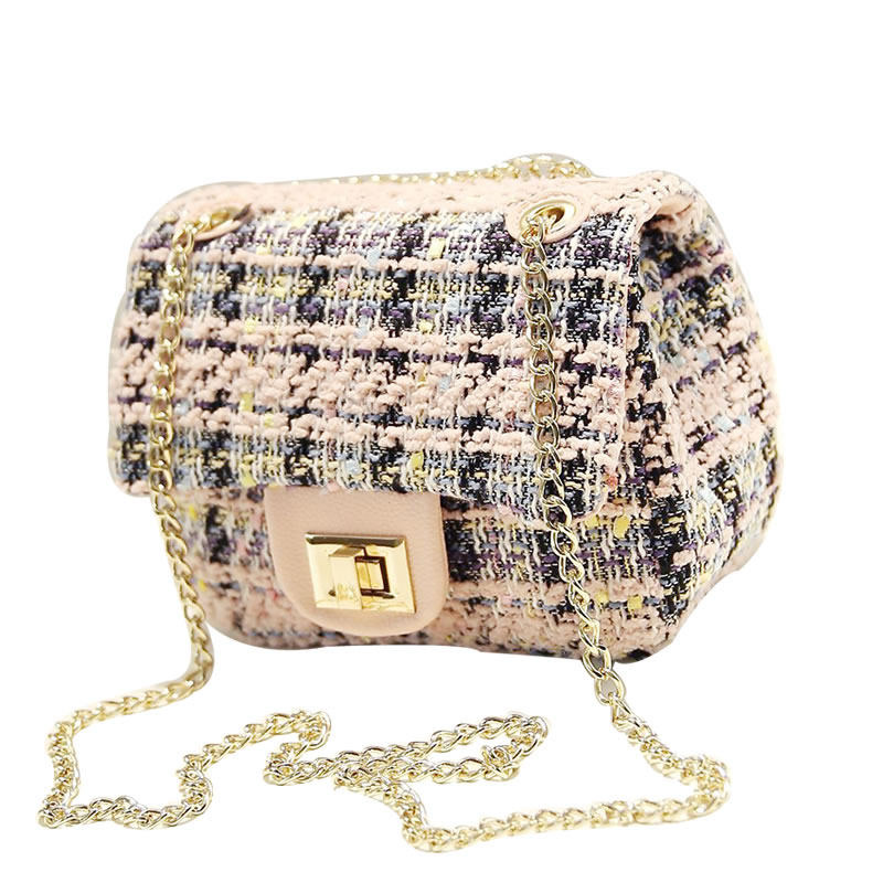 Mini Korean Style Chain Bag Women Designer Ladylike Small Shoulder Bag Designer Woolen Fabric Ladies Classy