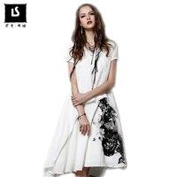 Summer Style Dress 2018 Women Retro Cotton Linen Dresses Short Sleeve V Neck Ink printed Leisure work party Dresses Maxi Vestido