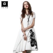 a3a56f7ab76 Summer Style Dress 2018 Women Retro Cotton Linen Dresses Short Sleeve  V-Neck Ink-printed Leisure work party Dresses Maxi Vestido