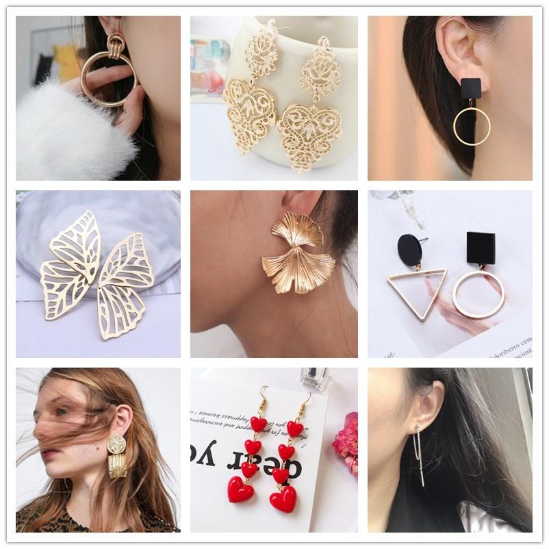 Hot Sale Women Heart Drop Earrings Girl Gift Flower Leaf Pendant Statement Earring Fashion Party Jewelry Bijoux Orecchini