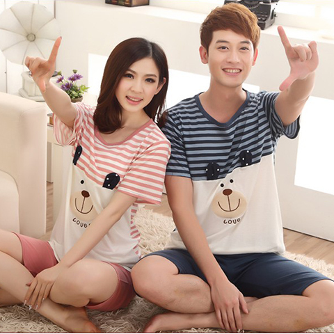 2017 new fashion couple pajamas striped bear cotton large size men short sleeve cotton couple pajamas