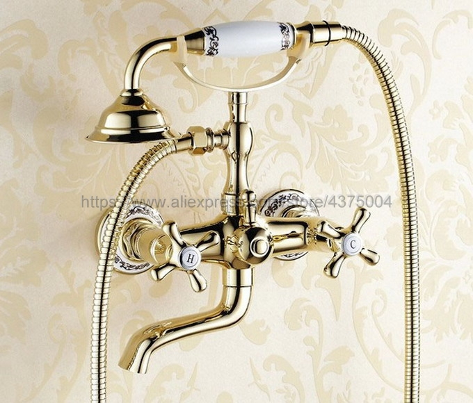Luxury Gold Color Brass Bathtub Faucet Wall Mount Handheld Bath Tub Mixer System with Handshower Telephone Style Ntf408Luxury Gold Color Brass Bathtub Faucet Wall Mount Handheld Bath Tub Mixer System with Handshower Telephone Style Ntf408