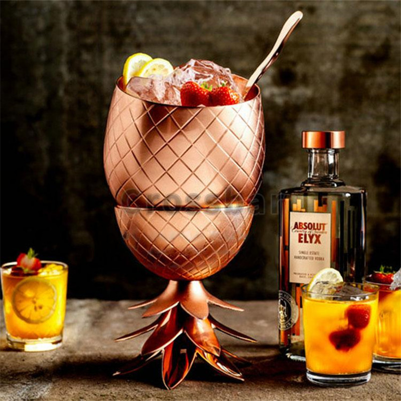 Bar Tool Creative Pineapple Tumbler Cocktail Cups Mugs 3 Colors Silver Copper Gold Stainless Steel Beer