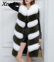 2018 New Arrival Colored Long Faux Fur Vest Women Faux Fur Sleeveless Jacket Fake Fur Coats Fur Gilet fourrure Plus Size Xnxee