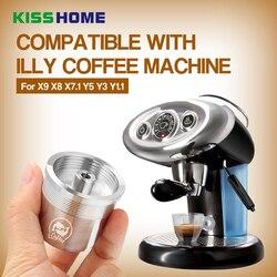 Kapsułka wielokrotnego użytku 304 wielokrotnego użytku ze stali nierdzewnej filtr do kawy nadające się do obsługi illy do napełniania kapsułki z kawą Nespresso ekspres do kawy kapsułki kroplownik
