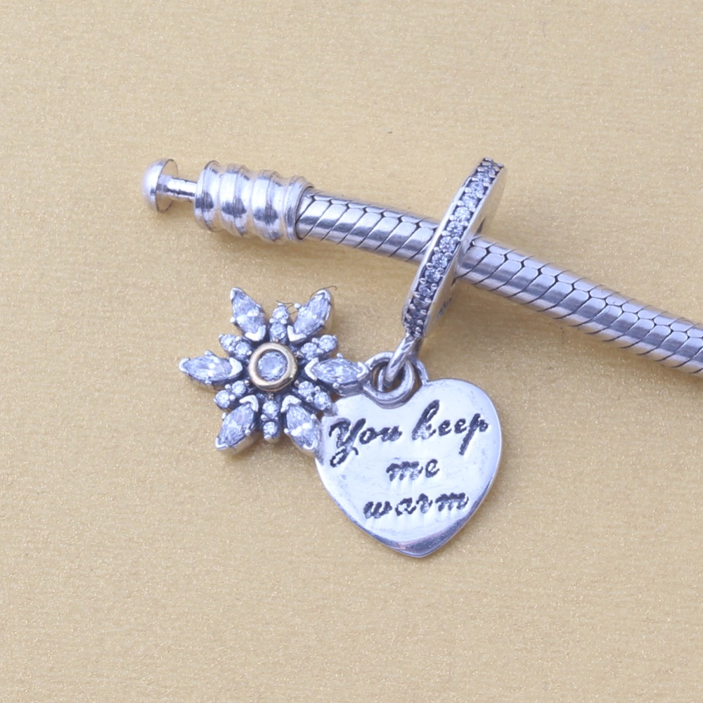 ZMZY Original 925 Sterling Silver Charms Snowflake Heart Pendants Beads For Pandora Charms Bracelets Accessories