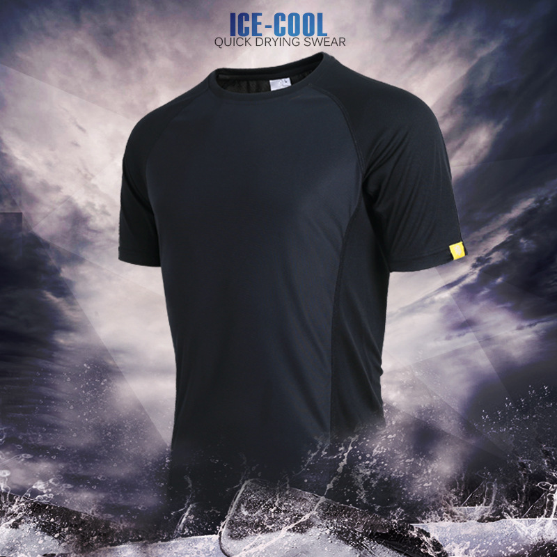 O Neck Solid Quick Dry T Shirt Men Short Sleeve Slim Fit Men Portable Shirts Casual Shirts Male