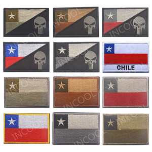 3D Chile Flag Skull Embroidery Patch Morale Patch Tactical Emblem Badges Appliques Decorative Embroidered Patches For Backpack(China)