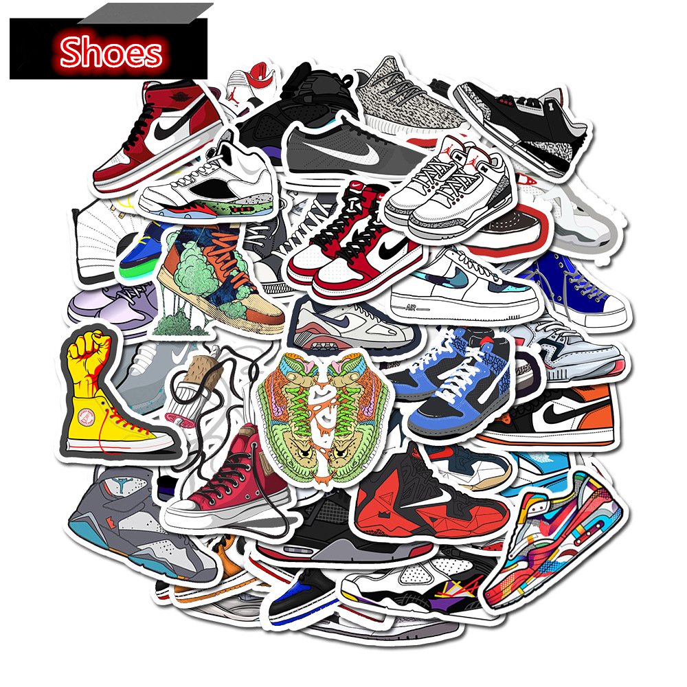 50Pcs Cool Cartoon Gym Shoes Stickers Luggage Fridge Laptop Guitar Skateboard Surfboard Motorcycle DIY Photo Albums Sticker