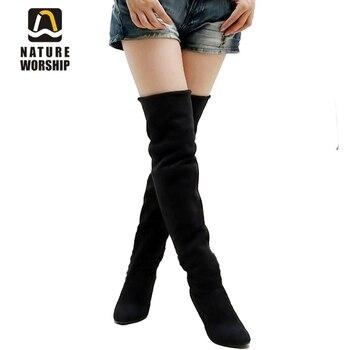 9b52a71ccfe ¡Oferta! botas largas a la moda para mujer, de cuero nobuk, botas largas  sexis para mujer, tacones altos por encima de la rodilla, botas para mujer  tamaño ...