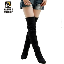 2016 hot sale fashion long boots for women Nubuck Leather sexy Stovepipe boots Over the Knee high heels women boots size 34-43 цены онлайн