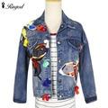 2017 Новое прибытие женщин бабочка Вышивка джинсовые куртки Женская одежда Джинсы Пальто женские случайные свободные пальто Женской моды верхняя одежда