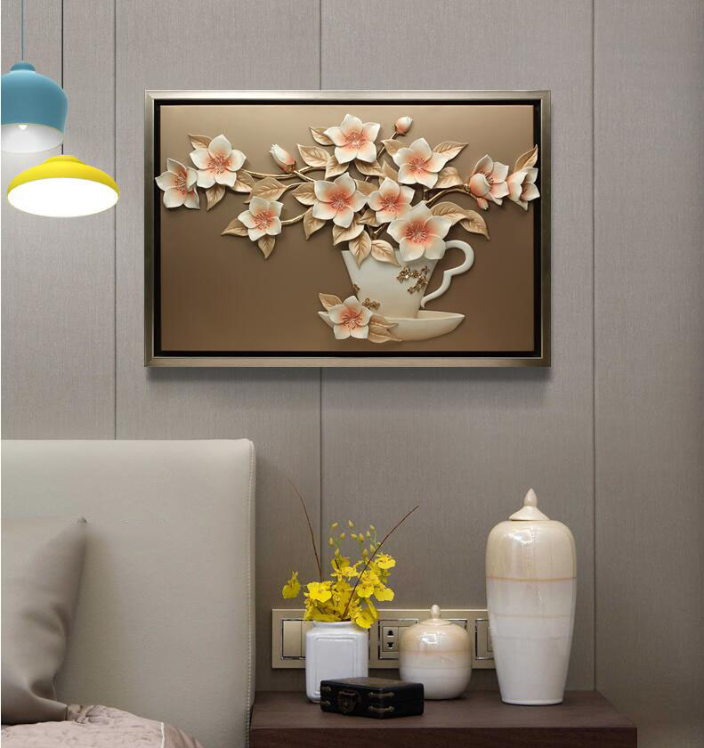 Moderne résine fleur peinture tenture murale artisanat décoration murale pendentif salon fond 3D Sticker Mural ornements muraux - 5