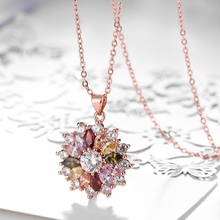 Rose Gold Color Necklaces for Women Flower Pendant Necklace with Cubic Zirconia 18inch Chains Wedding Collier Choker Bijoux gold pendant with topaz and cubic zirkonia