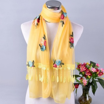 Spring Summer Embroidery Floral Scarf Double Yarn Long Beach Shawl Female Lace Stitching Rose Flower Silk Sunscreen Scarves Wrap floral embroidery bow tie scarves summer chiffon poncho cape women elegant ruffle long sleeve shawl female silk scarf sunscreen
