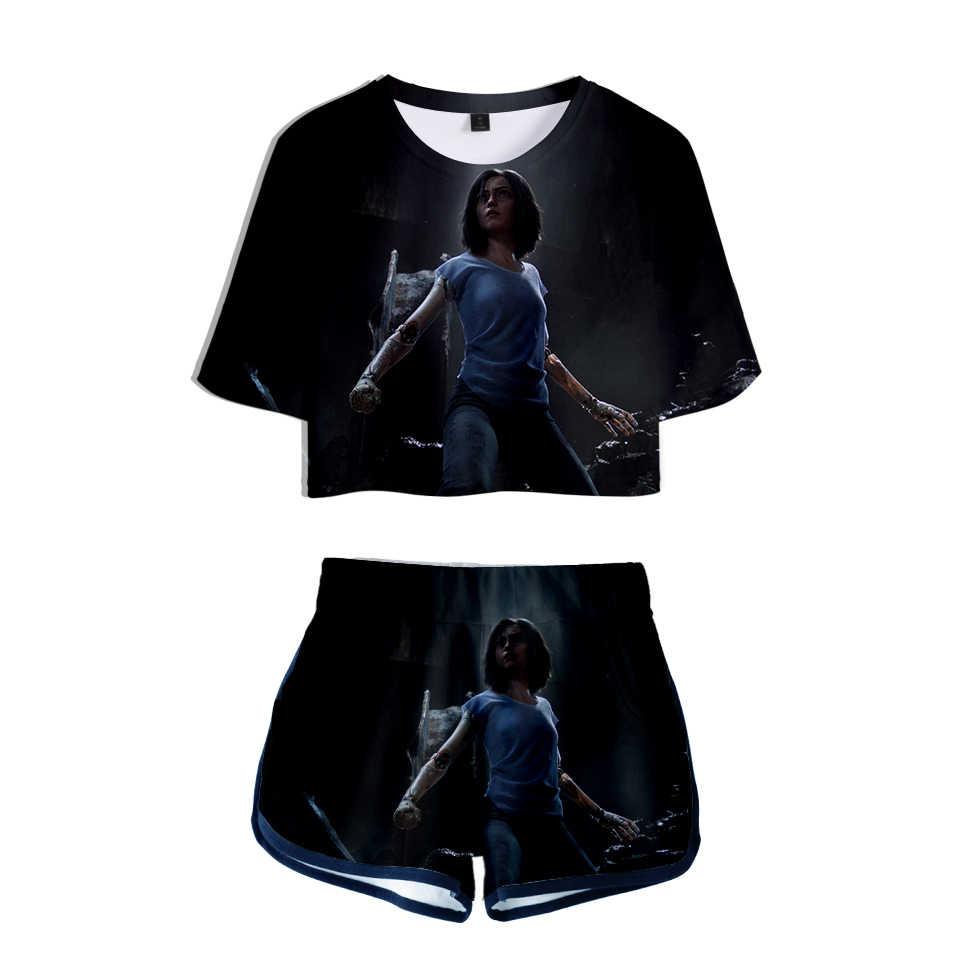 Harajuku 2019 recently 3D Alita Battle Angel Summer Two Pieces sets Women Fashion Clothes girl Hot T-shirts shorts