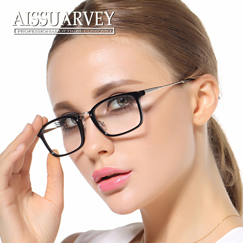 62923db9961 Women eyeglasses optical fashion brand light prescription black vintage glasses  frame 1802 Korean red square clear lenses moypia-in Eyewear Frames from ...