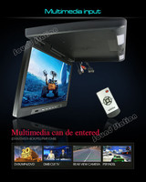 17'' Inch 12v HD Car Flip Down TFT LCD Monitor Roof Mount Player + Adjustable View Screen + Dome LED Lights + Optional: VGA TV